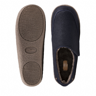 Clarks Mens Relaxed Charm Navy Slippers
